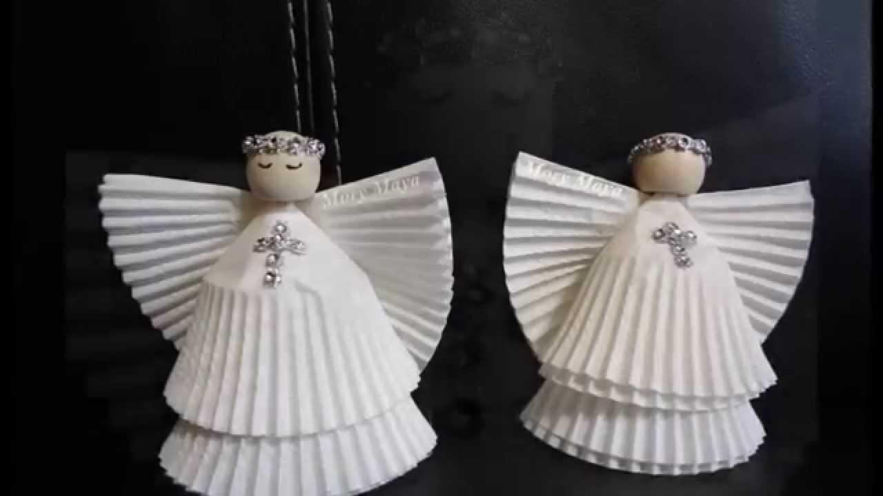 Como hacer angeles con capacillos para cupcakes diy for Decoracion navidena con papel