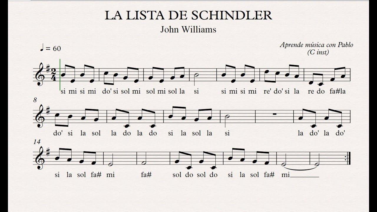 LA LISTA DE SCHINDLER: (flauta, violín, oboe...) (partitura con playback) -  YouTube
