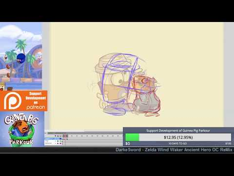 "Rough Sketches, Coffee Mascot ""Attack"" Hug - (Guinea Pig Parkour Live Stream 44)"