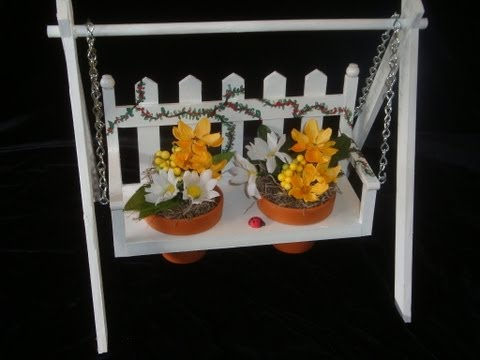 Make a decorative wood swing: it's a flower pot holder. A great gift project!
