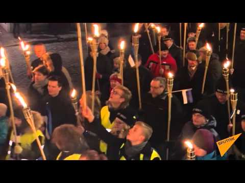Anti-Immigrant 'Soldiers Of Odin' March Through Tallinn, Estonia