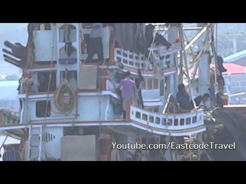fishing trawlers heading for the sea Samut Sakhon Province