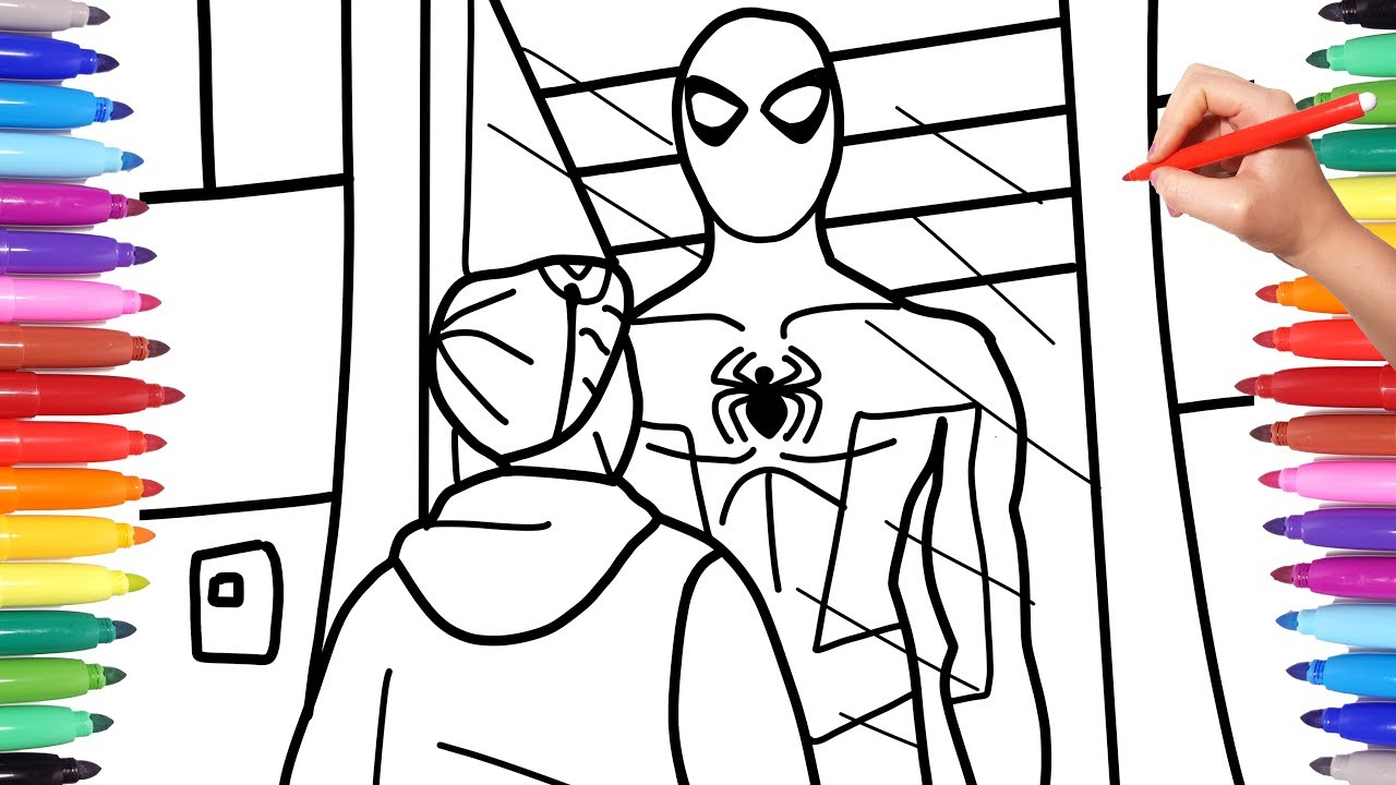 Spiderman Coloring Pages | How to Draw Spiderman | Miles Morales Checks Out  Spiderman Suit