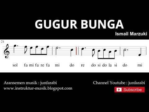 Melodi Gugur Bunga - Not Balok Nada Pianika - Doremi Solmisasi