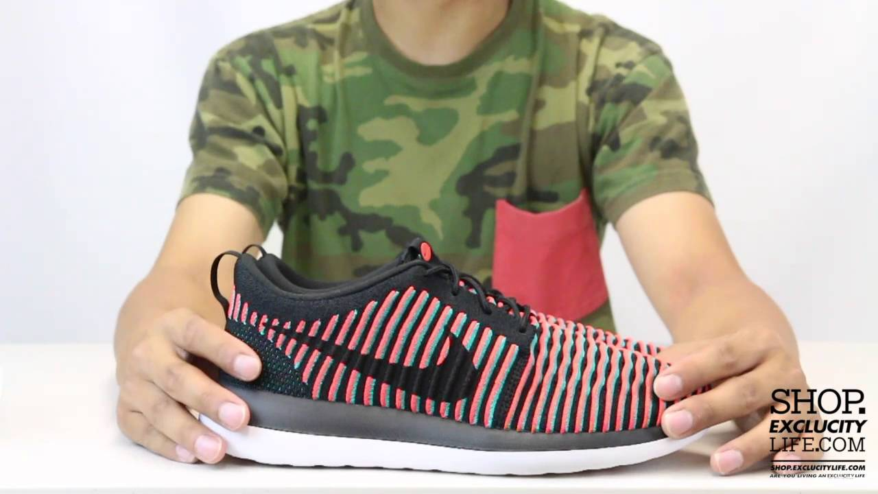 b0dd157b67a1 Nike Roshe Two Flyknit Black - Bright Crimson Unboxing Video at Exclucity