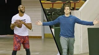 Chris Paul & Aaron Rodgers Edition | Dude Perfect(It's trick shot time with Chris Paul and Aaron Rodgers! ▻Powered by State Farm | Check out both Chris and Aaron's charities below! ▻The Chris Paul Family ..., 2015-12-22T00:32:56.000Z)