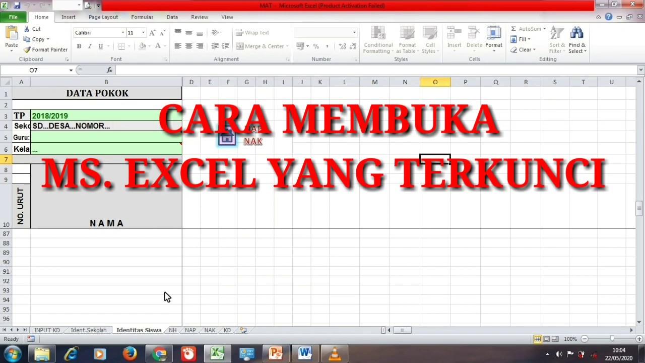 Cara Membuka Excel Yang Terkunci Tutorial Youtube