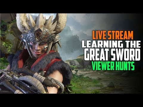 Viewer Hunts and Greatsword Gameplay - Arena Farming - Monster Hunter World Ps4 Gameplay