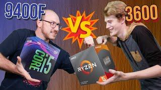 """Batalha de CPU """"custo x benefício"""" pra jogar! AMD Ryzen 5 3600 ou Intel Core i5-9400F?"""