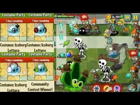 Plants vs. Zombies 2 ||  Pea Pod Costume, Iceberg Lettuce costume || Pinata Party 3/6/2018 (Ep.62)