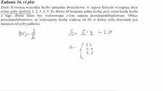 Matura sierpień 2014 zadanie 34 Zbiór M tworzą wszystkie liczby naturalne dwucyfrowe, w zapisie któr