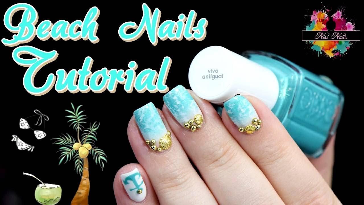 Sommer Strand Nageldesign: Beach Nails Nail Art Tutorial - YouTube