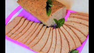 Мясной хлеб из курицы - домашняя колбаса без оболочки .