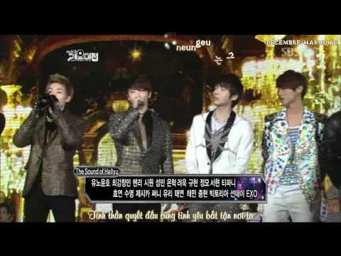 [Karaoke + Vietsub] 111229 SBS 가요대전 - The Sound of Hallyu - SM Family
