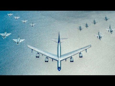 US, German, Swedish And Polish Warplanes Formation Flight Over The Baltic Sea