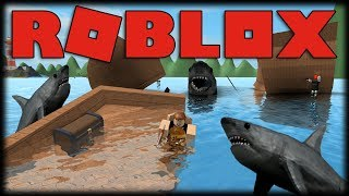 Playing Roblox-Apocalypse of sharks and Pirate boat!!