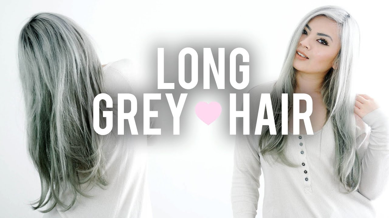 Grey Hairstyle: How I Style My Long Grey Hair Routine - YouTube