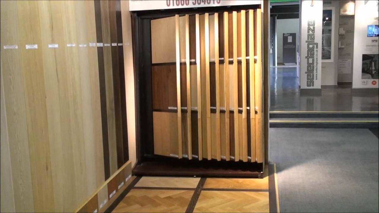 Wood flooring display at the building centre london youtube for Laminate flooring displays