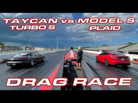 1,020 HP PLAID vs TAYCAN * Tesla Plaid Model S vs Porsche Taycan Turbo S 1/4 Mile Drag Race