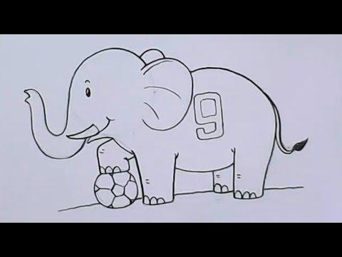สอนวาดรูปการ์ตูนช้าง ด้านข้าง ด้วยกระดาษ กับดินสอ