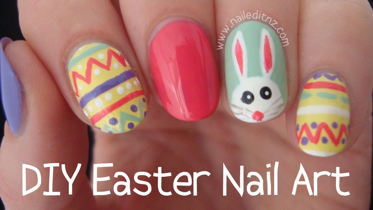 easter nail art pastel eggs and bunny youtube