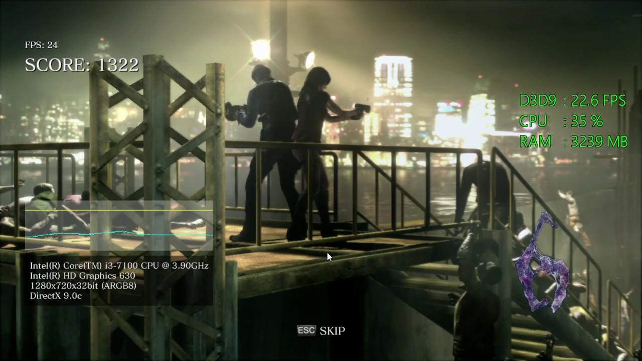 Intel HD Graphics 630 -- Intel Core i3-7100 -- Resident Evil 6 Benchmark - YouTube