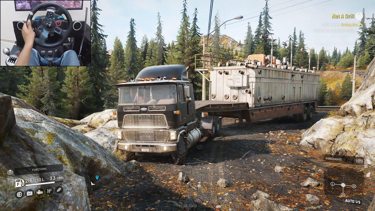Transporting an oversized construction trailer - SnowRunner | Logitech g29 gameplay