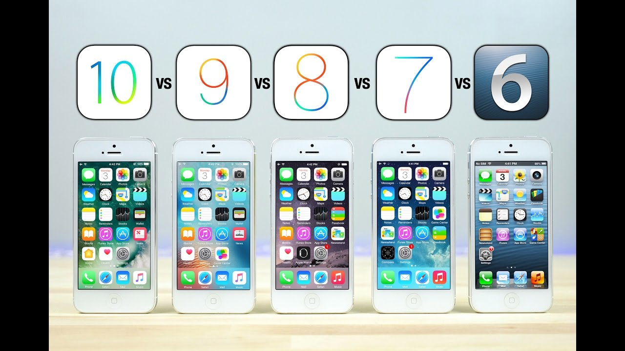 iOS 10 vs iOS 9 vs iOS 8 vs iOS 7 vs iOS 6 on iPhone 5 Speed Test! - YouTube
