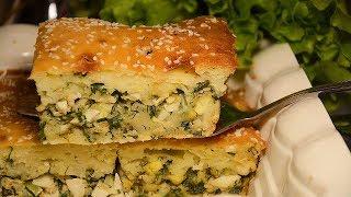 Заливной пирог на кефире с яйцом и зеленым луком. Приготовить проще простого! Очень быстро и сытно!