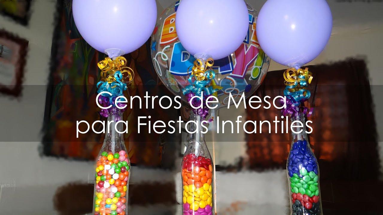 Centro de mesa para fiestas infantiles botellas - Mesas para ninos de plastico ...