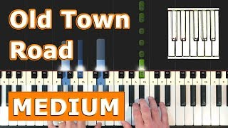 Lil Nas X - Old Town Road - Piano Tutorial (MEDIUM) - Sheet Music (Synthesia)
