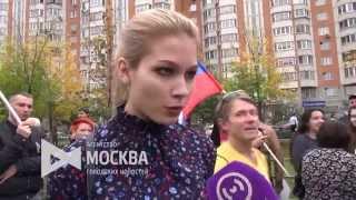 Мария Катасонова на митинге оппозиции в Марьино