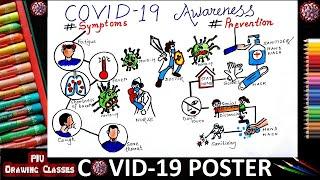 Prize Winning Coronavirus Awareness Poster Drawing | How to Draw Easy Coronavirus Prevention Drawing
