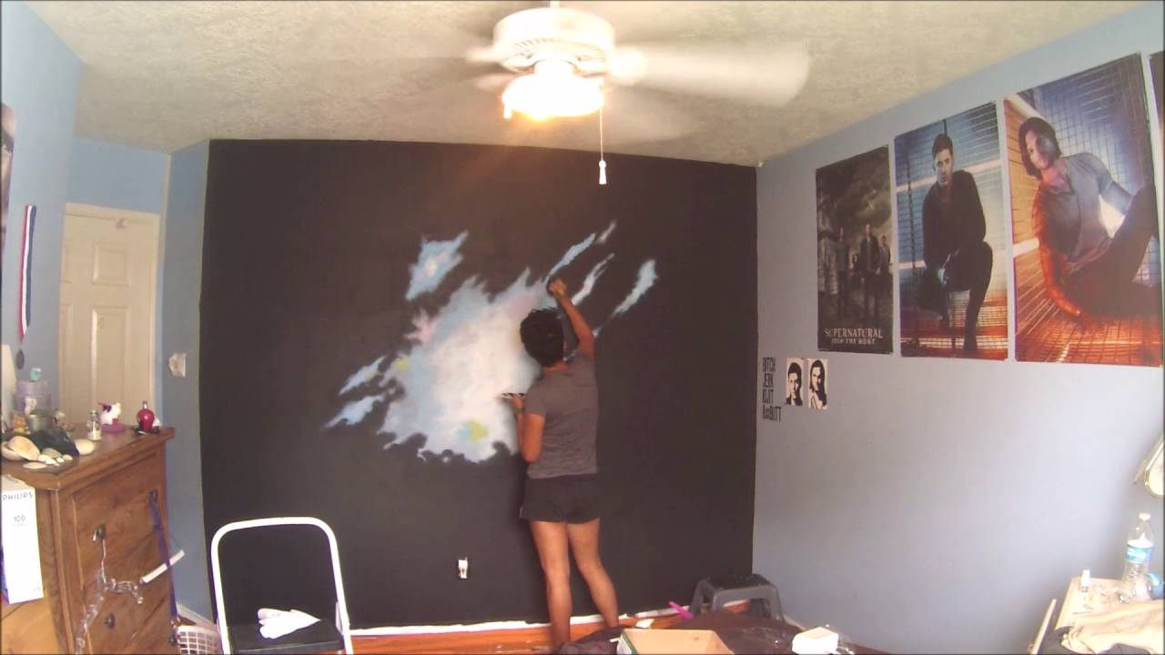 Bedroom galaxy mural youtube How to paint murals on bedroom walls