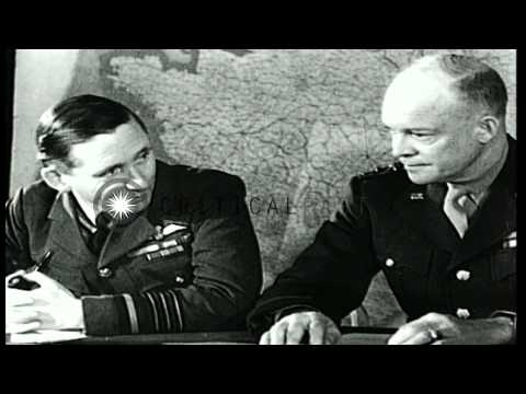 General Dwight Eisenhower and other allied Generals of World War II confer. HD Stock Footage