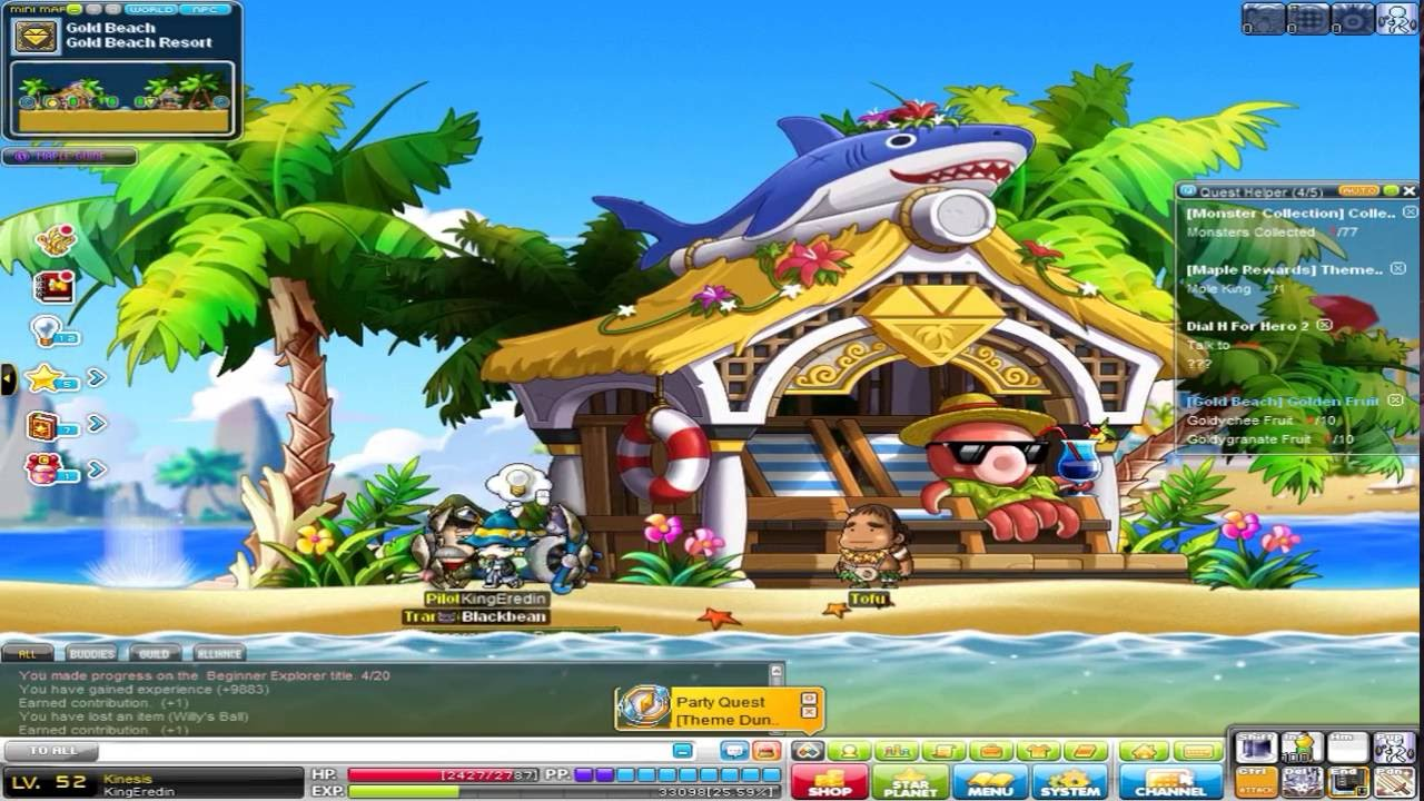 Maplestory Global Lets Play Episode #3 Golden Beach Dungeon - YouTube