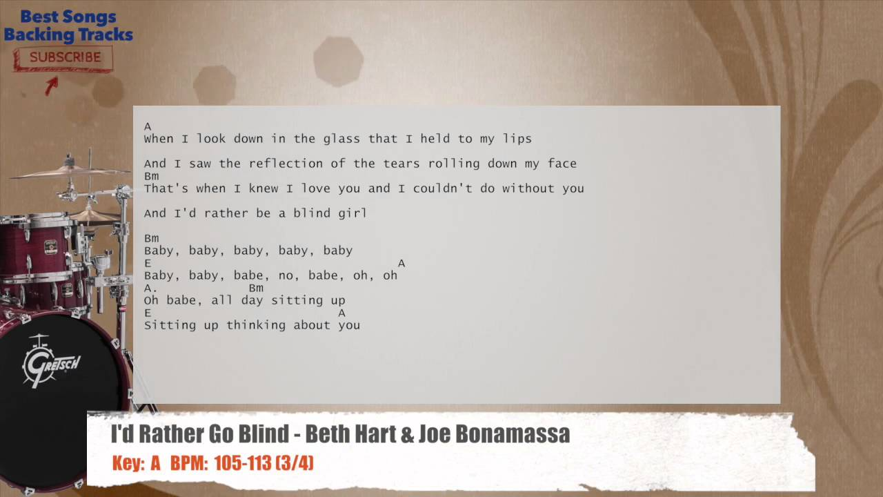 Id Rather Go Blind Beth Hart Joe Bonamassa Drums Backing Track
