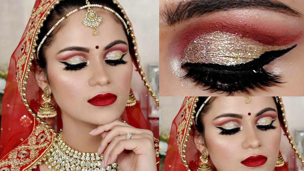 indian bridal makeup tutorial in hindi| cut crease waterproof makeup