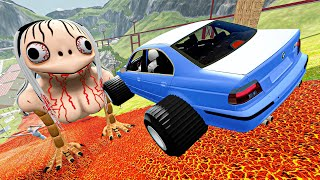 Crazy Vehicle Huge Jumps Over Giant Momo | BeamNG Drive Satisfying Cars Crashes & Fails Compilation