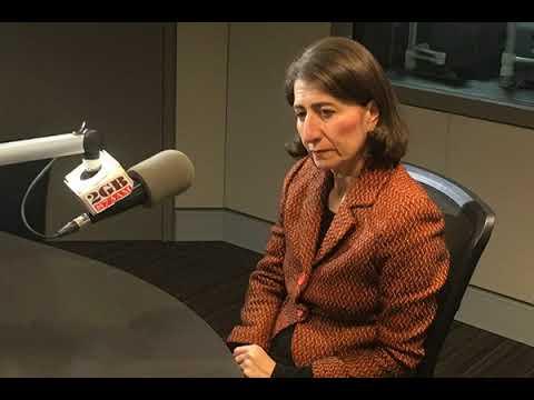 Radio 2GB's Alan Jones with NSW Premier Gladys Berejiklian in studio