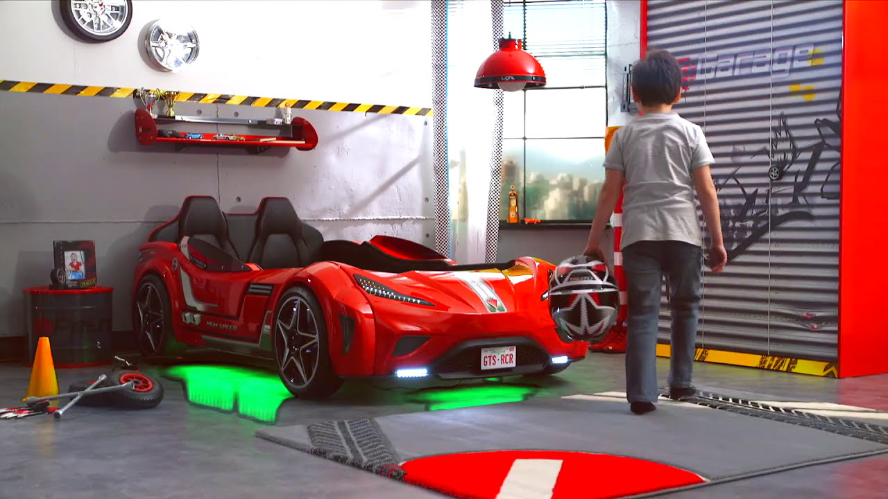 Cilek GTS Twin Race Car Bed - YouTube