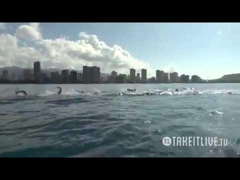 2014 Waikiki Rough Water Swim Full Race and Finish Line