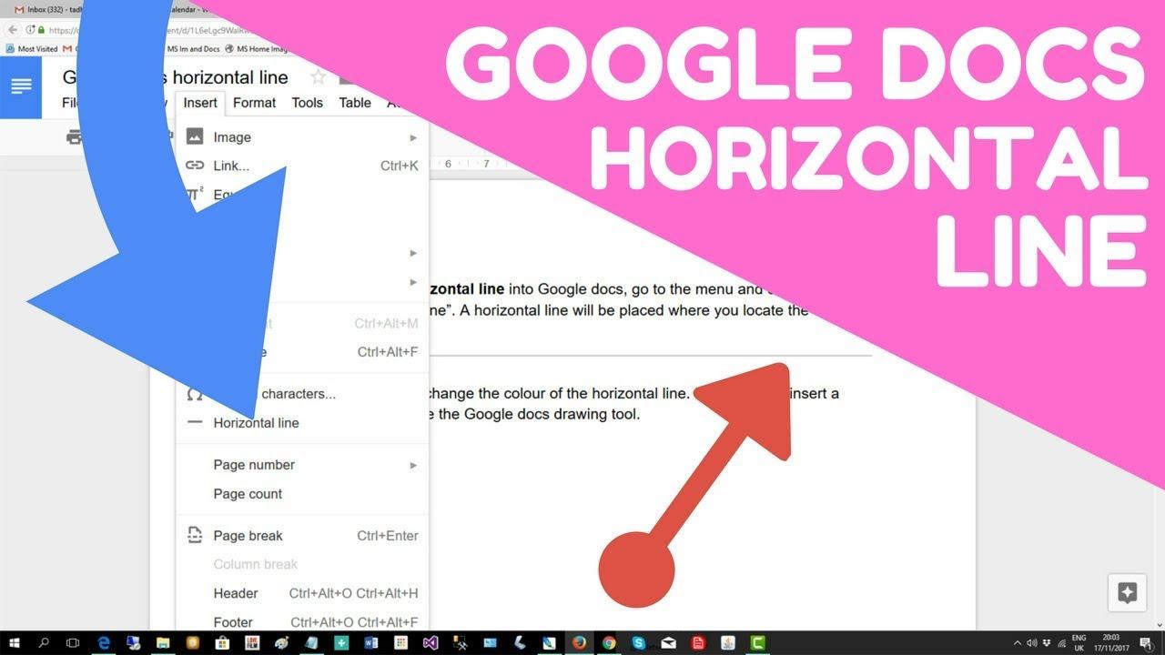 google docs horizontal line - insert in 15 seconds