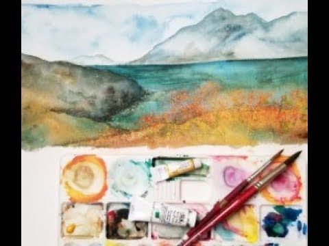 Watercolor dreamy landscape tutorial/painting tips