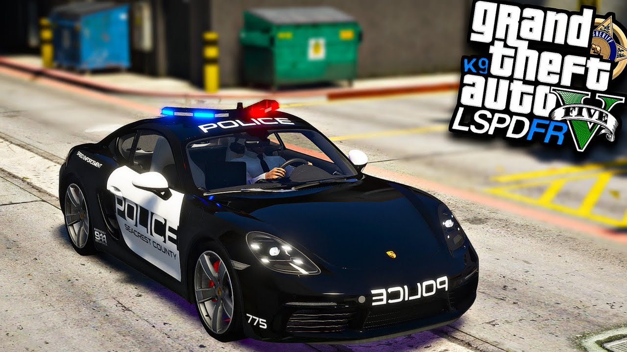 GTA V : MOD POLICIA - JOGANDO COMO UM POLICIAL DE PORSCHE 718 CAYMAN! ( INCRÍVEL )