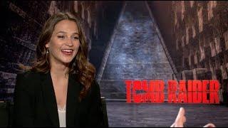 TOMB RAIDER interviews - Alicia Vikander talks about Angelina Jolie, Walton Goggins