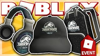 how to get the jurassic world headphones cap backpack roblox creator challenge event 2018