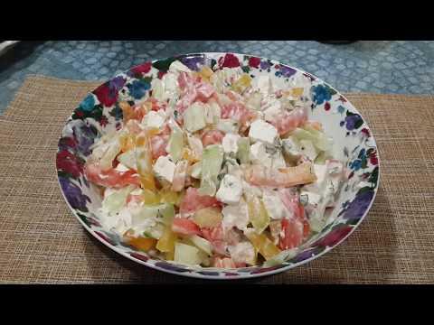 Салат с брынзой и овощами/полезный салатик для тех,кто худеет
