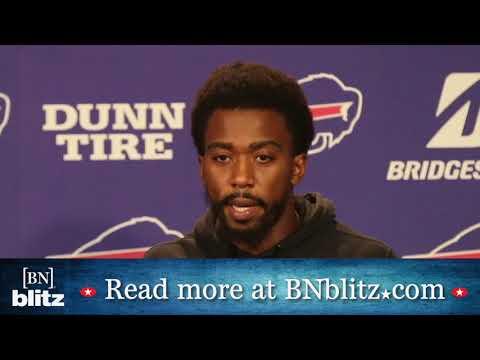 Buffalo Bills quarterback Tyrod Taylor speaks to the media
