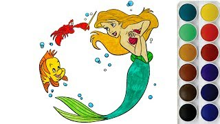 Coloring Mermaid Fish and Lobster In The Sea   Coloring Pages for Kids